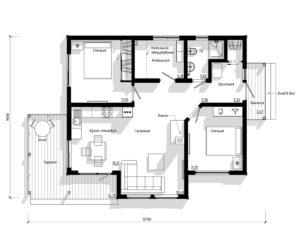 Каркасный дом на 91 м2